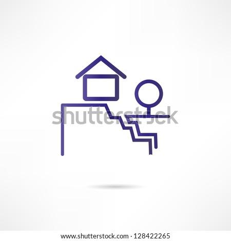 landslide icon - stock vector