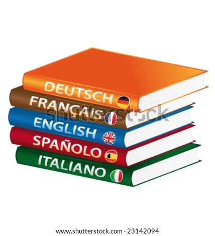 Languages books formation vector - stock vector