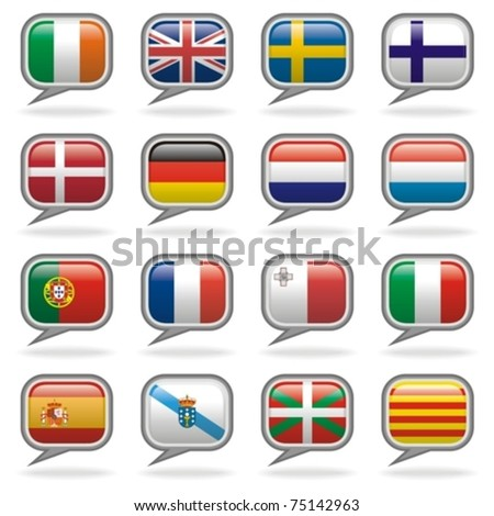 Languages Of The World - Western Europe Set. Speech icons to identify the language of your media, including subtitles, dubbed motion pictures, games, soundtracks, websites, translations and more! - stock vector