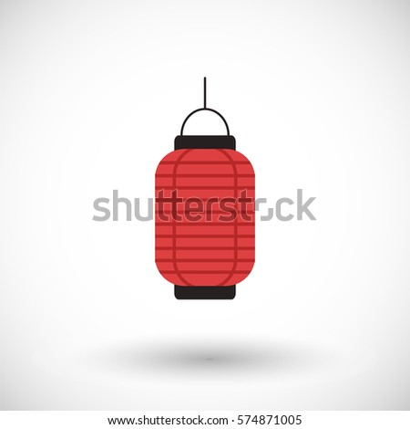 Lantern Icon Flat Design Of Chinese Or Japanese Red With Round Shadow Vector
