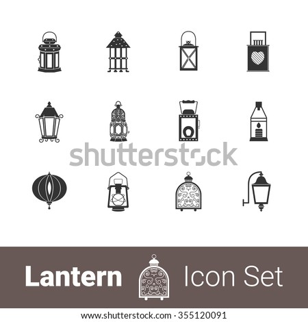 Lantern modern stylish icon set of 12 icons. EPS 10
