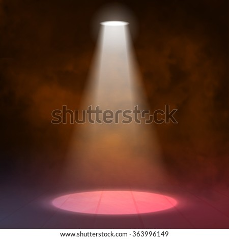 Lantern spotlight illuminates wooden scene. red color. Vector illustartion.