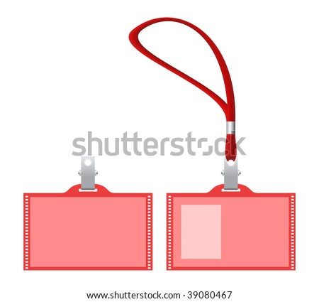 Lanyard and name tags. Vector illustration.