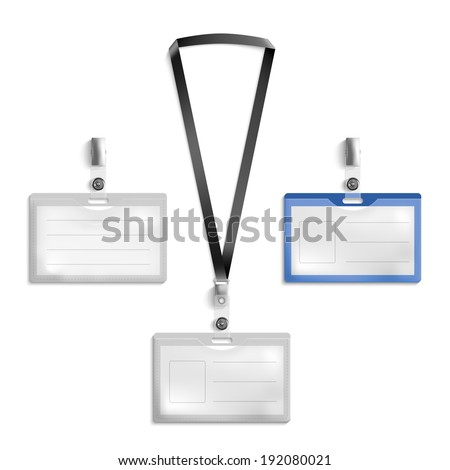 Lanyard, name tag holder end badge templates vector - stock vector