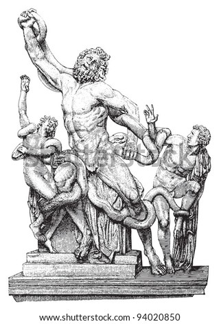 Laocoon and his sons / vintage illustration from Meyers Konversations-Lexikon 1897 - stock vector