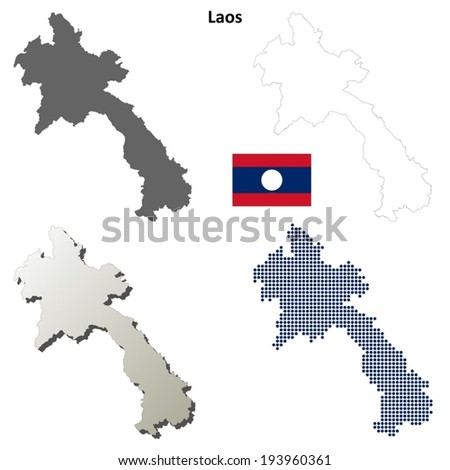 Laos blank detailed outline map set - vector version
