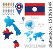 Laos. flag. Asia. World Map. vector Illustration. - stock vector