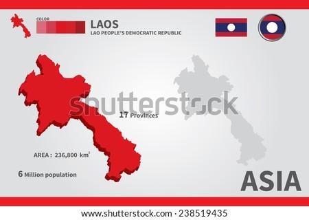Laos. flag. Asia. World Map. vector Illustration. - stock vector
