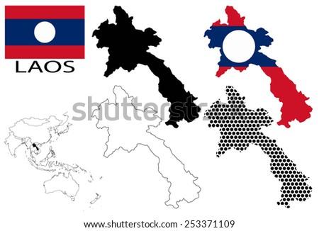 Laos - Four optional contour maps, National flag and Asia map vector - stock vector