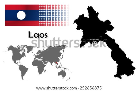 Laos info graphic with flag , location in world map, Map and the capital ,Vientiane, location.(EPS10 Separate part by part) - stock vector