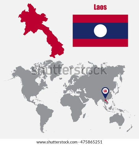 Laos Flag Asia World Map Vector Stock Vector Shutterstock - Laos map vector
