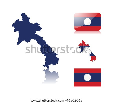 Laotian map including: map with reflection, map in flag colors, glossy and normal flag of Laos.