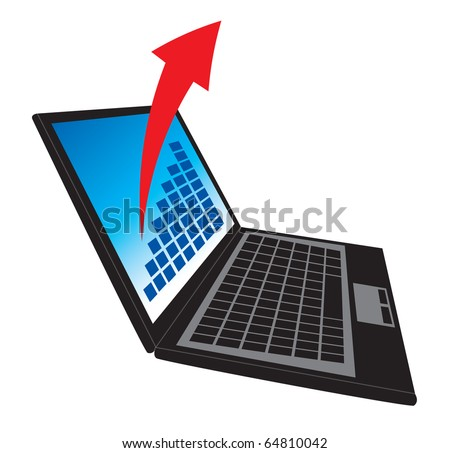 Lap top with abstract arrow, vector illustration shows technology and business success. - stock vector