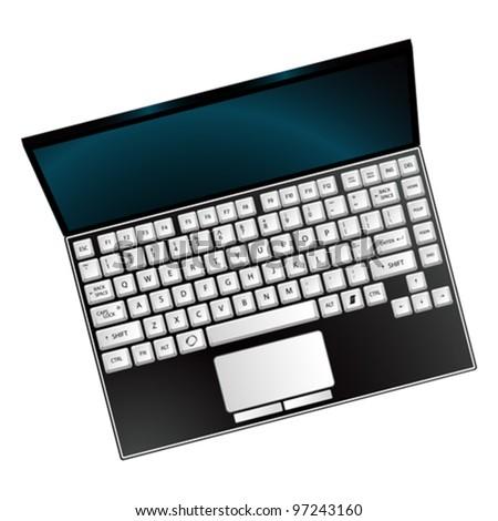 laptop against white background, abstract vector art illustration - stock vector