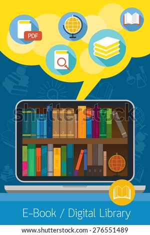 Laptop and books, E-Book and Digital Library Concept, Education, School Online, E-Learning, Study - stock vector