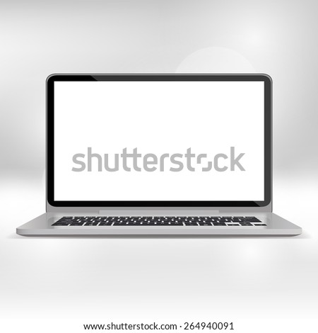 Laptop and flat monitor with blank screen isolated. Realistic Vector illustration - stock vector