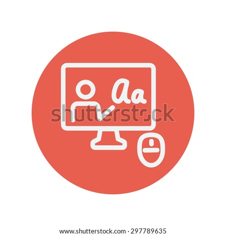 Laptop and mouse in online tutorial thin line icon for web and mobile minimalistic flat design. Vector white icon inside the red circle. - stock vector