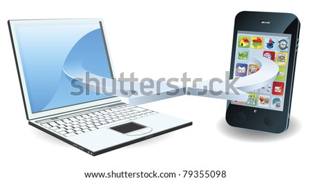 Laptop and smartphone communicating via wireless technology concept - stock vector