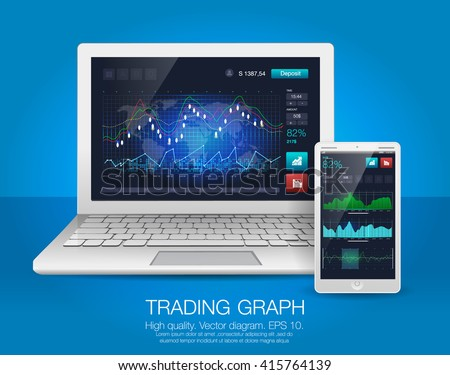 Laptop and smartphone with Heads-Up Display UI. Futuristic user interface and Infographic elements for business application. Abstract virtual graphic touch screen monitor radar set web elements - stock vector
