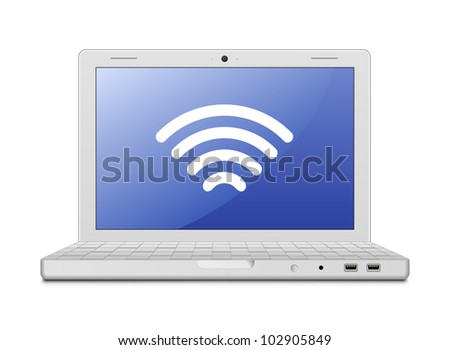 Laptop and wireless network. Wireless concept. Vector illustration of laptop and wireless technology - stock vector