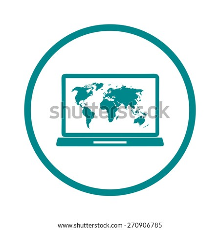 Laptop world map illustration world map stock vector 289860209 laptop and world map illustration world map geography symbol flat design style vector gumiabroncs Images