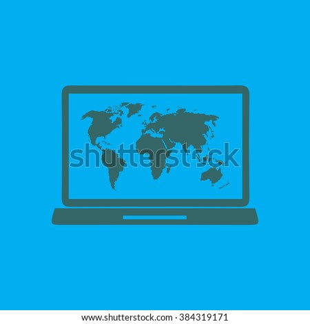 Laptop world map illustration world map stock vector 384319279 laptop and world map illustration world map geography symbol flat design style vector gumiabroncs Images