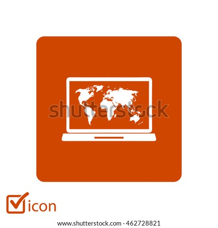 Laptop world map illustration world map stock vector 462728752 laptop and world map illustration world map geography symbol flat design style vector gumiabroncs Images