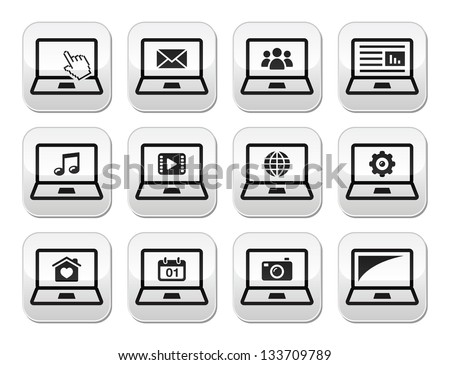 Laptop black vector buttons set - stock vector