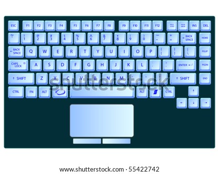 laptop blue keyboard against white background, abstract vector art illustration - stock vector