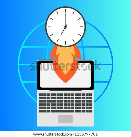 laptop clock timer freelance time management stock vector 1138797701
