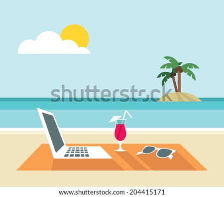 Laptop, cocktail, sunglasses on the beach - flat design - vector illustration - stock vector