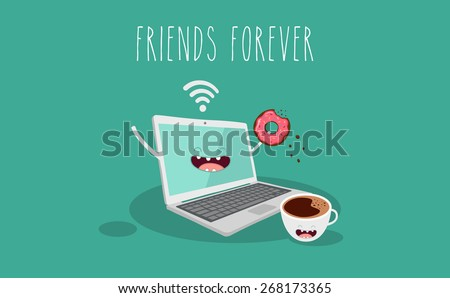 laptop, coffee and donut  illustration. Vector cartoon. Friends forever. Comic characters.  - stock vector