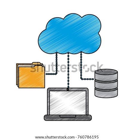 laptop computer connection cloud folder and data base technology