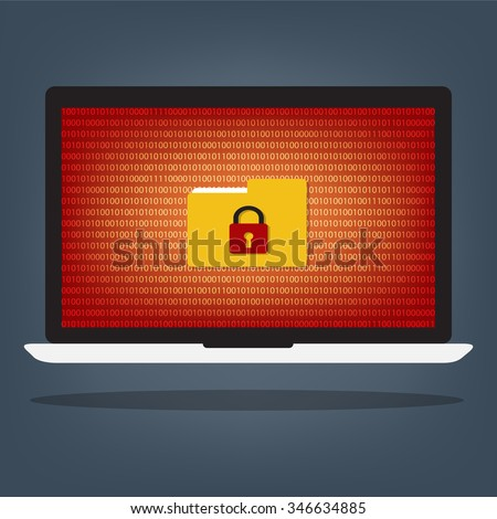 Laptop computer have folder locked key with ransomeware and malware on red binary code desktop background. Vector illustration computer security concept. - stock vector