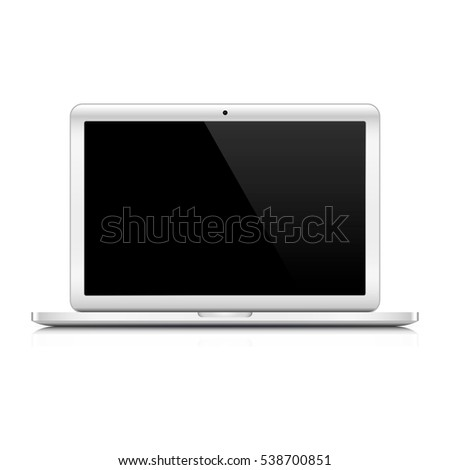 Laptop Computer on a white background. Vector illustration. Laptop with blank black screen.