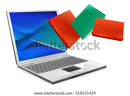 Laptop computer with books flying out of screen. Online education or ebook concept - stock vector