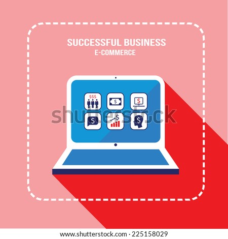 Laptop computer with business web icons on the screen. E-commerce, money earning online, profit and partnership, successful business concept. Vector illustration - stock vector