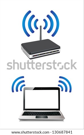 laptop connected to a wireless router - stock vector