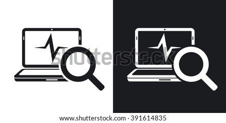 Laptop diagnostics icon, vector. Two-tone version on black and white background - stock vector