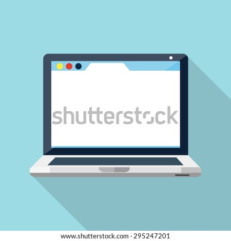 Laptop flat icon - stock vector