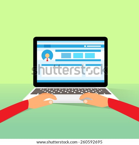 laptop hands type working using computer flat vector illustration - stock vector