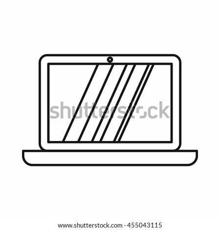 Laptop icon in outline style isolated vector illustration - stock vector