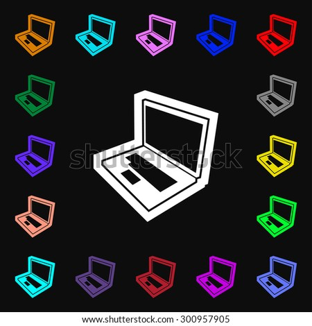 Laptop icon sign. Lots of colorful symbols for your design. Vector illustration - stock vector