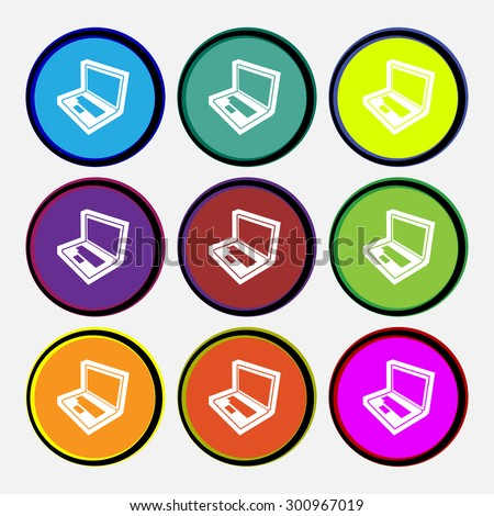 Laptop icon sign. Nine multi colored round buttons. Vector illustration - stock vector