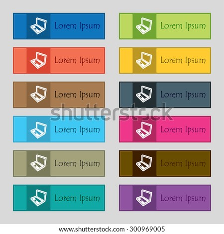 Laptop icon sign. Set of twelve rectangular, colorful, beautiful, high-quality buttons for the site. Vector illustration - stock vector