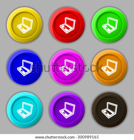 Laptop icon sign. symbol on nine round colourful buttons. Vector illustration - stock vector