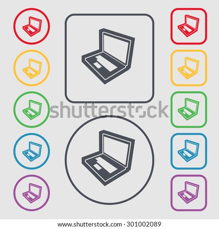 Laptop icon sign. symbol on the Round and square buttons with frame. Vector illustration - stock vector