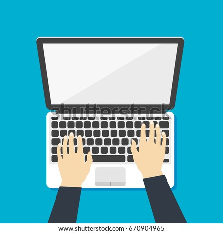 Hands On Keyboard Stock Images, Royalty-Free Images ... Laptop Vector Illustration