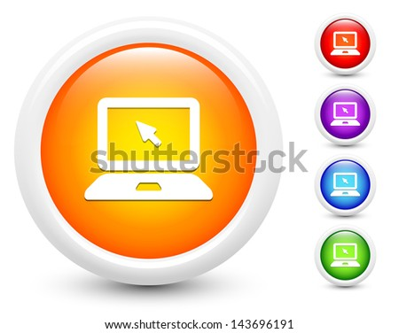 Laptop Icons on Round Button Collection Original Illustration - stock vector