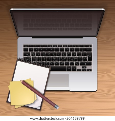 Laptop isolated on the wooden desk - vector illustration - stock vector